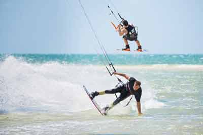 kite surfing coloured sands