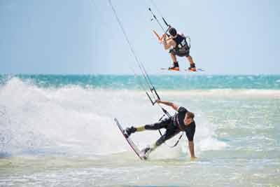 kite surfing coloured sands